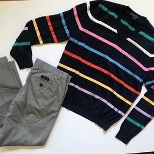 Brooks Brothers Supima Cotton Striped Sweater M